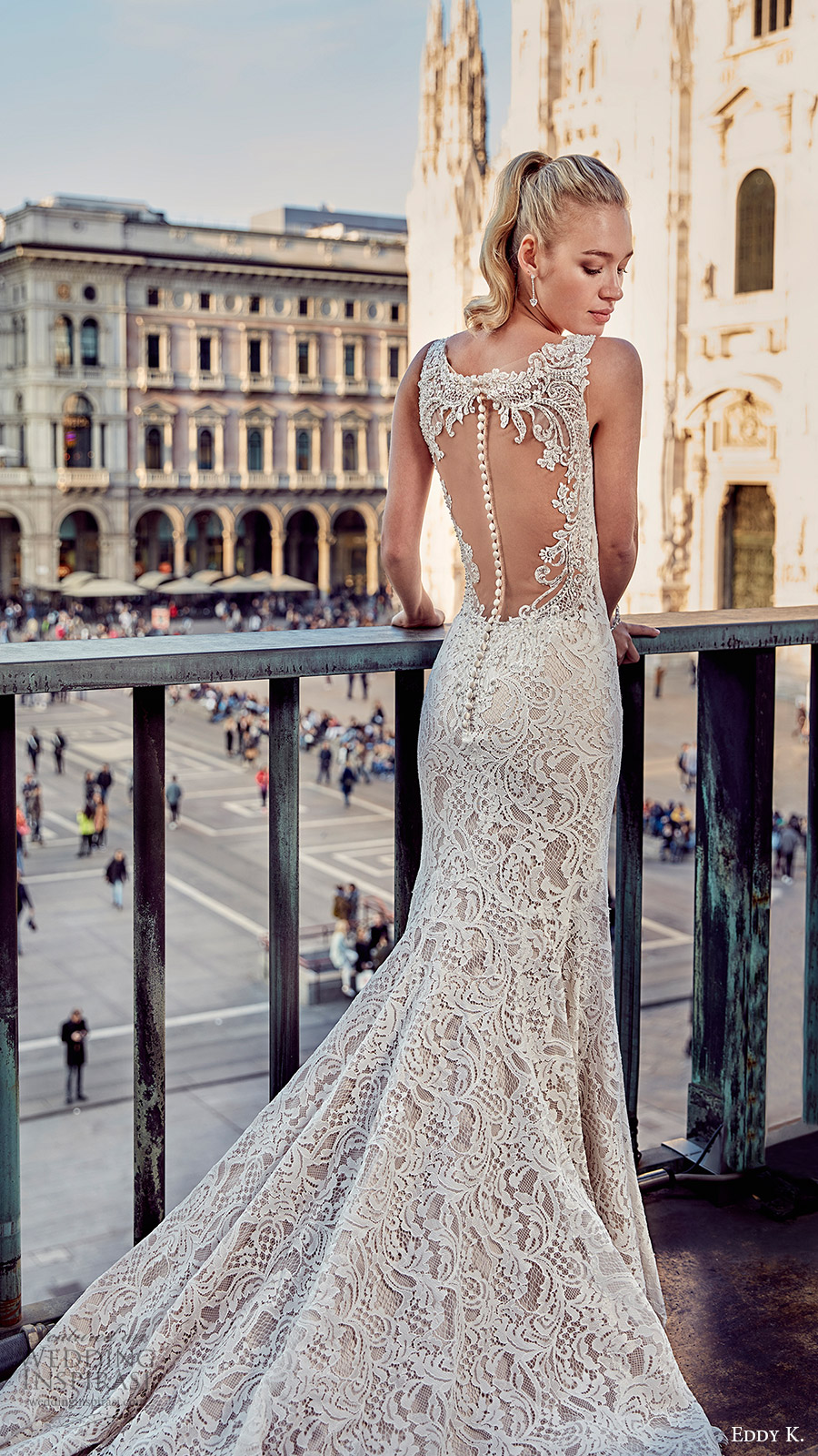 eddy k milano bridal 2017 sleeveless v neck trumpet lace wedding dress (md209) bv illusion back train