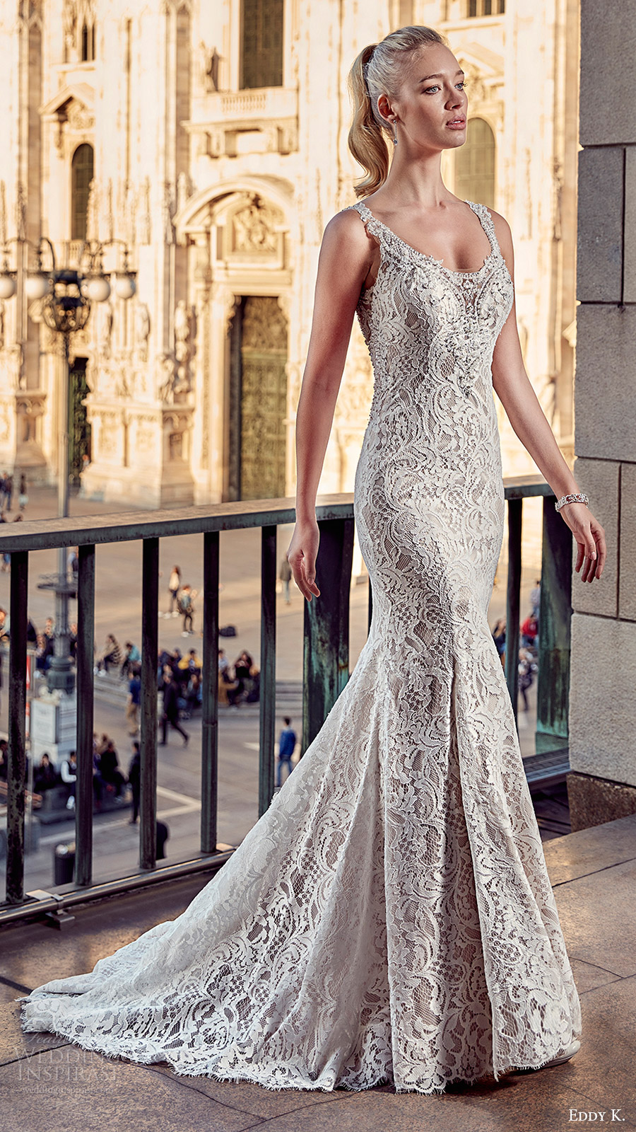 eddy k milano bridal 2017 sleeveless v neck trumpet lace wedding dress (md209) mv train
