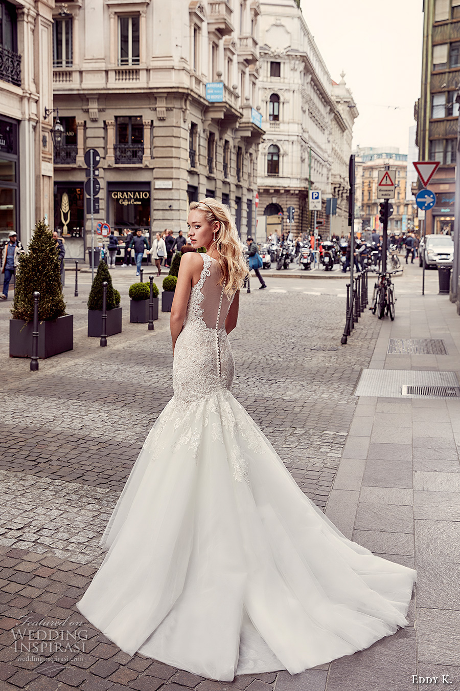 eddy k milano bridal 2017 sleeveless with strap v neck heavily embellished bodice elegant mermaid wedding dress illusion back chapel train (md232) bv
