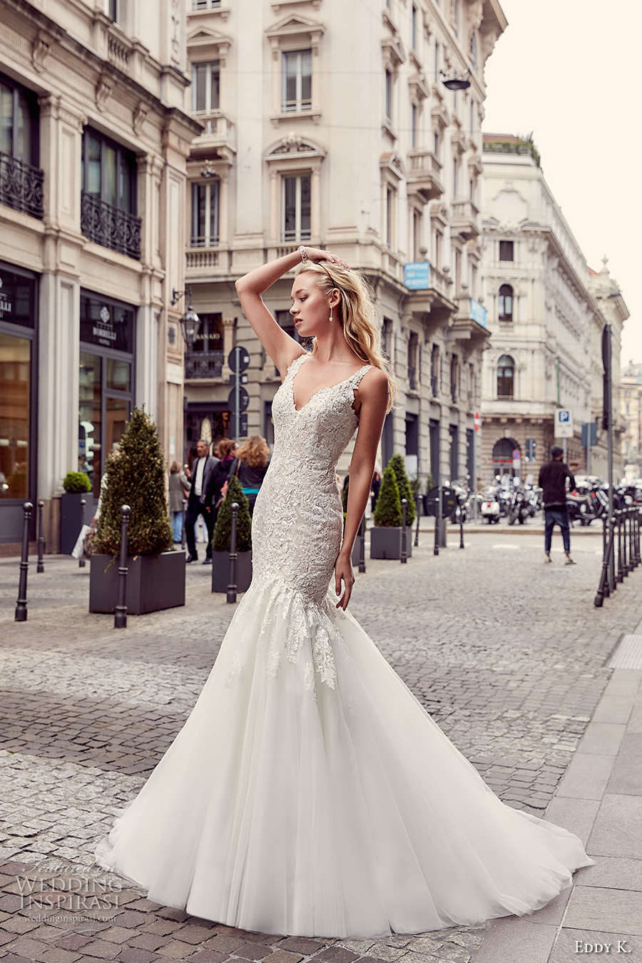 eddy k milano bridal 2017 sleeveless with strap v neck heavily embellished bodice elegant mermaid wedding dress illusion back chapel train (md232) mv