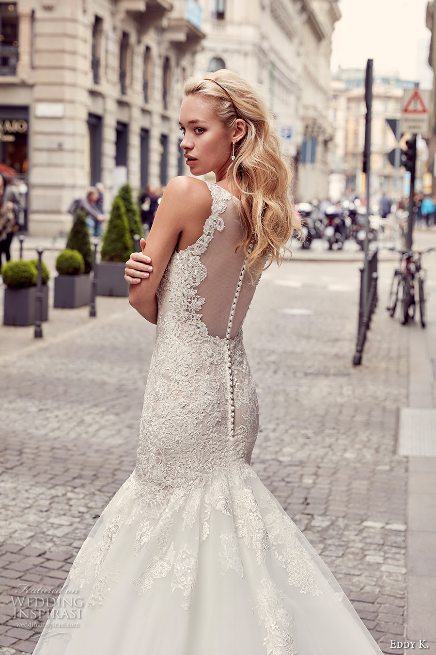 eddy k milano bridal 2017 sleeveless with strap v neck heavily embellished bodice elegant mermaid wedding dress illusion back chapel train (md232) zbv