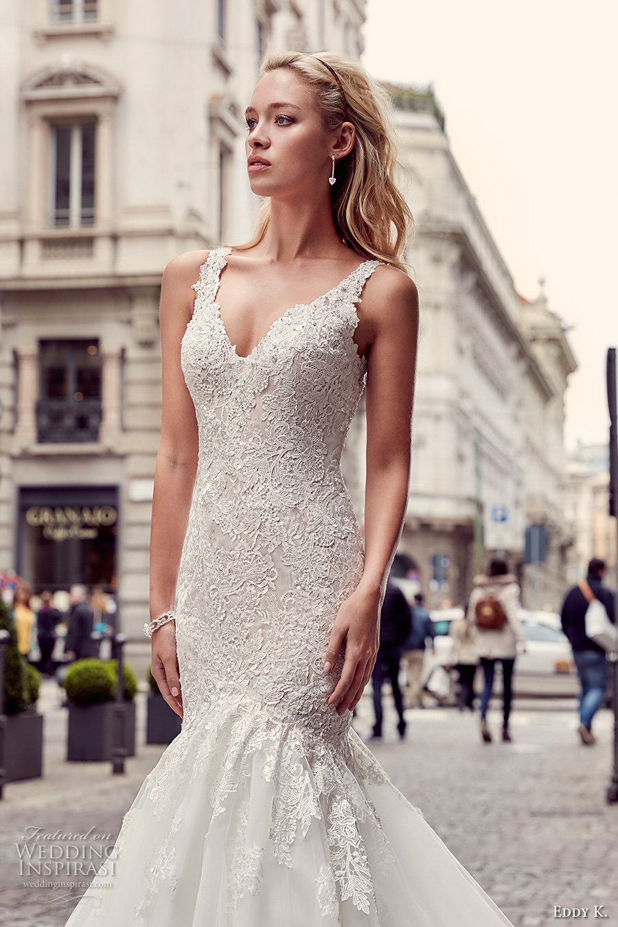 eddy k milano bridal 2017 sleeveless with strap v neck heavily embellished bodice elegant mermaid wedding dress illusion back chapel train (md232) zv