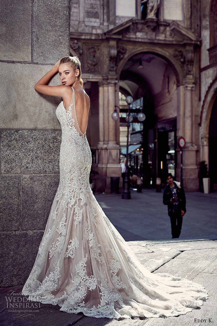 eddy k milano bridal 2017 spagetti strap v neck full embellishment gorgeous elegant mermaid wedding dress chapel train low back (md216) bv