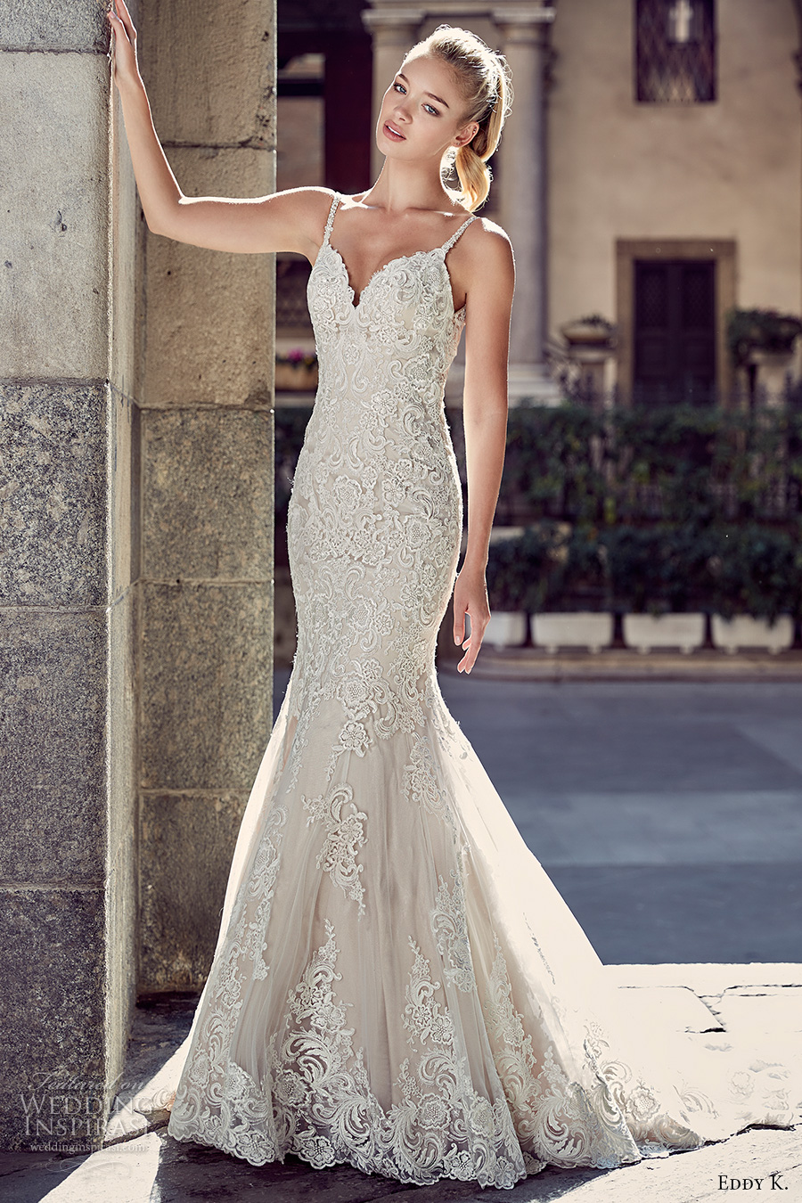 eddy k milano bridal 2017 spagetti strap v neck full embellishment gorgeous elegant mermaid wedding dress chapel train low back (md216) mv
