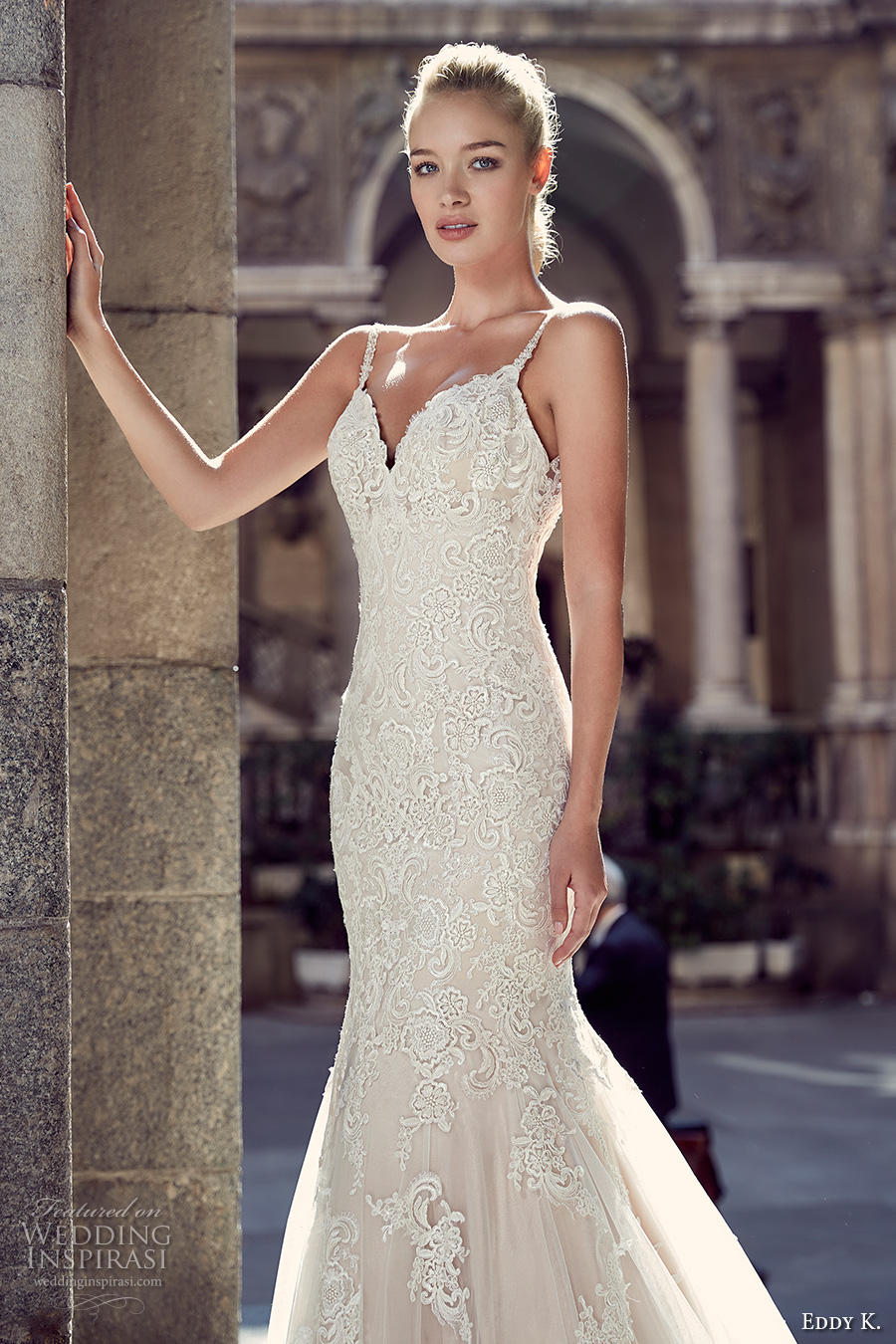 eddy k milano bridal 2017 spagetti strap v neck full embellishment gorgeous elegant mermaid wedding dress chapel train low back (md216) zv