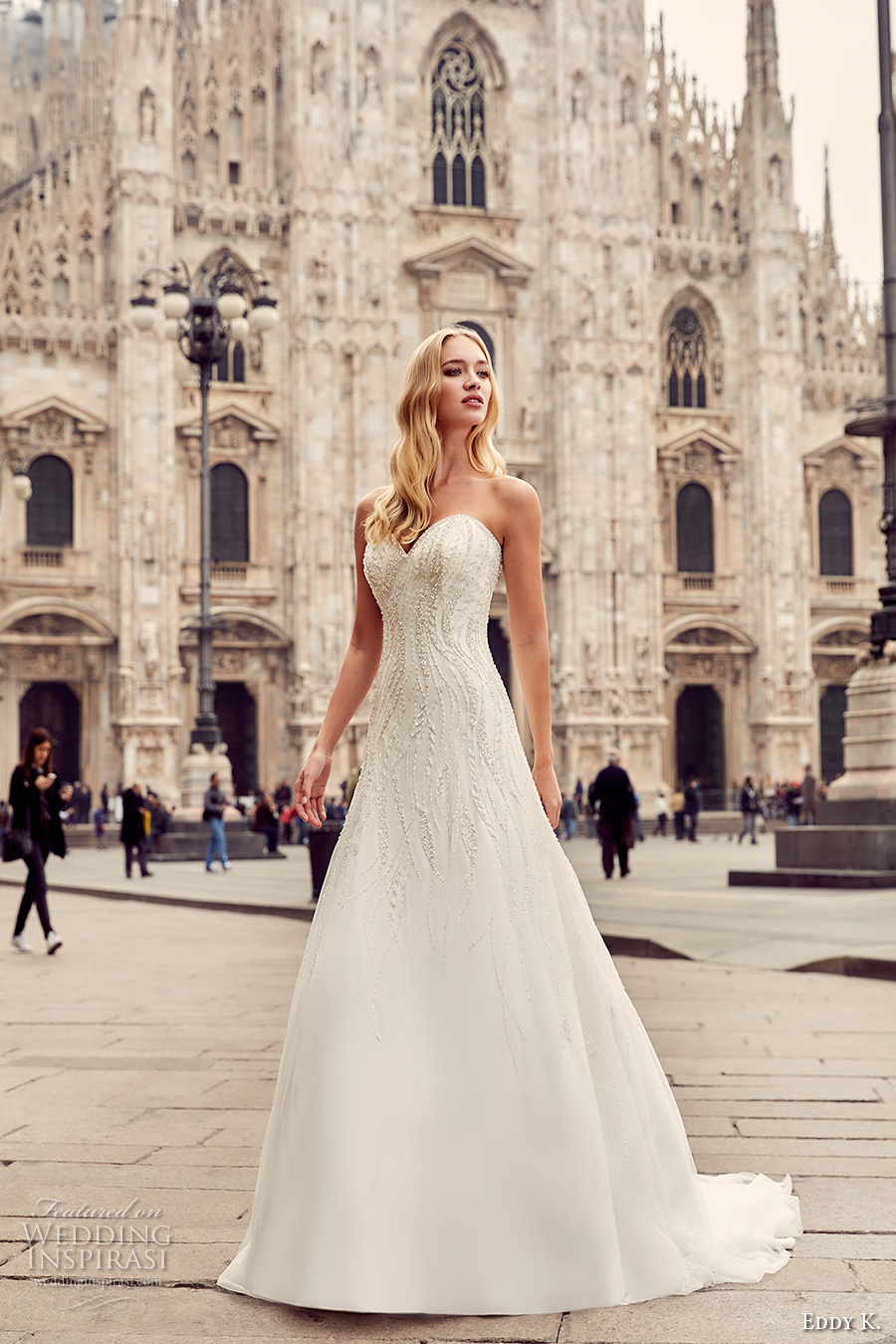 eddy k milano bridal 2017 strapless sweetheart neckline heavily embellished bodice beaded drop waist a  line wedding dress sweep train (md227) mv