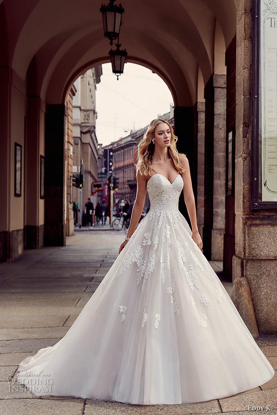 Eddy k 2017 wedding dresses milano bridal collection for Wedding dress heart shaped neckline