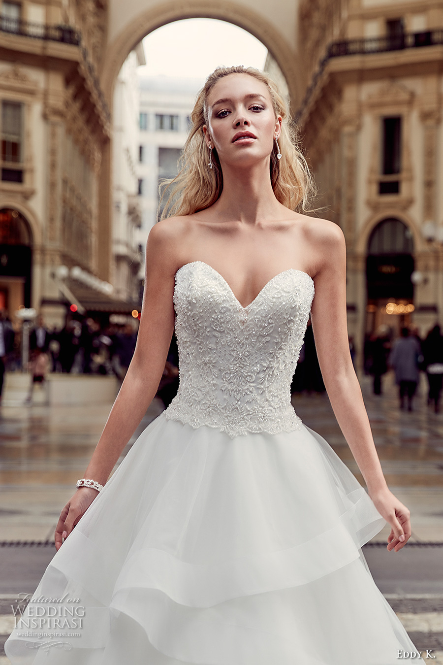 eddy k milano bridal 2017 strapless sweetheart neckline heavily embellished bodice tiered horsehair hem princess ball gown wedding dress (md223) zv