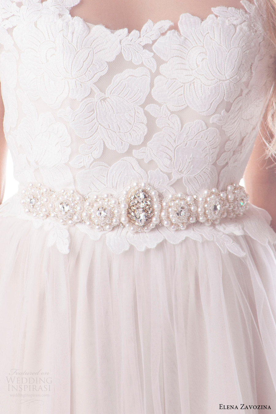 elena zavozina bridal accessories 2016 wedding pearl belt (elena) mv