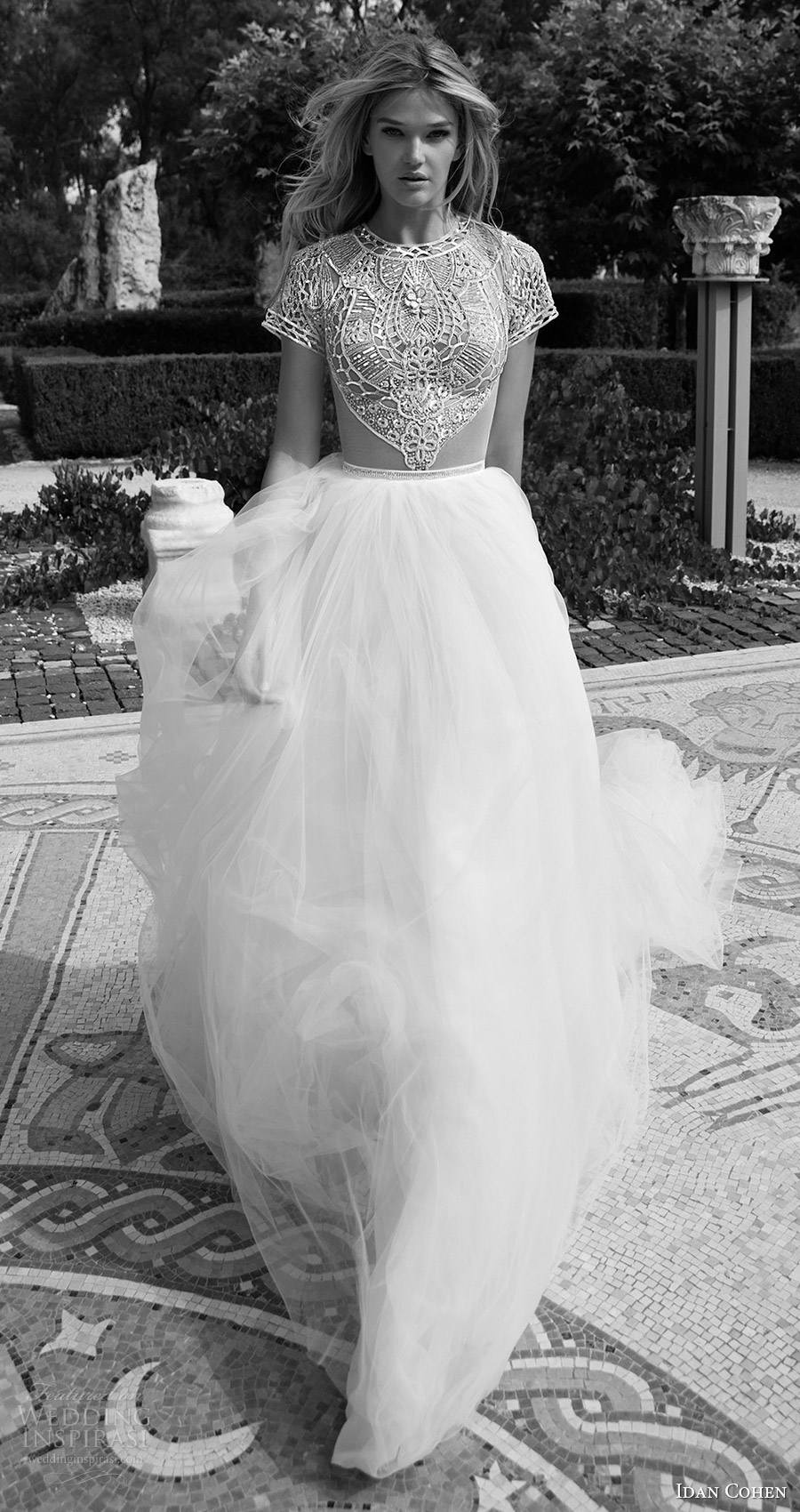 idan cohen bridal 2017 cap sleeve jewel neck beaded bodice ball gown wedding dress (carla the river) mv