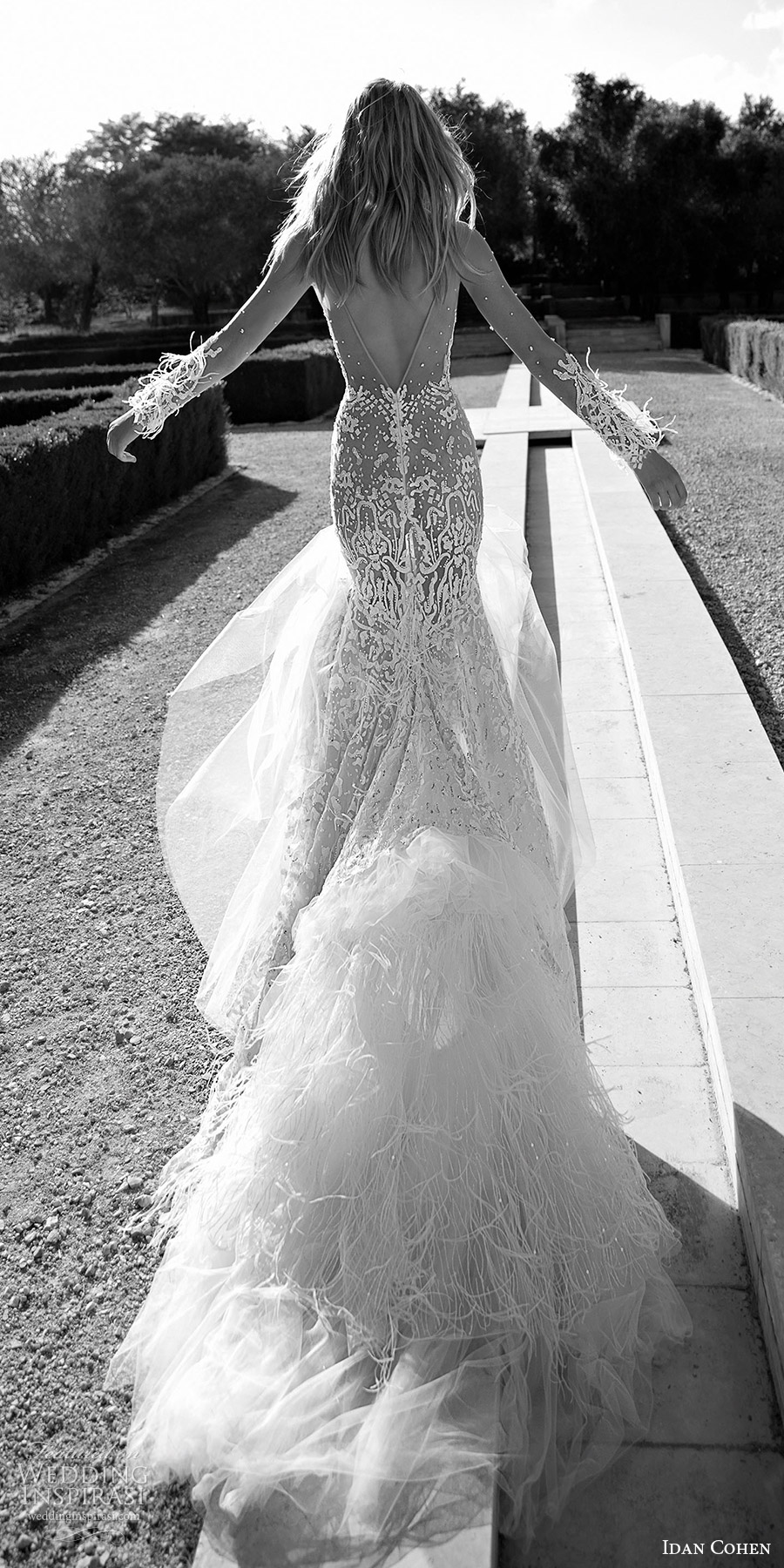 idan cohen bridal 2017 illusion long sleeves sweetheart lace trumpet wedding dress (carolina) bv vback train feather