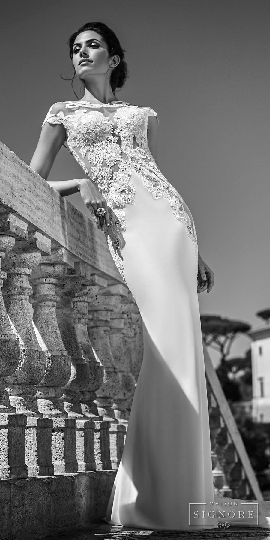 maison signore 2017 bridal cap sleeves round split plunging neckline heavily embellished bodice sexy sheath wedding dress chapel train (rahima) mv