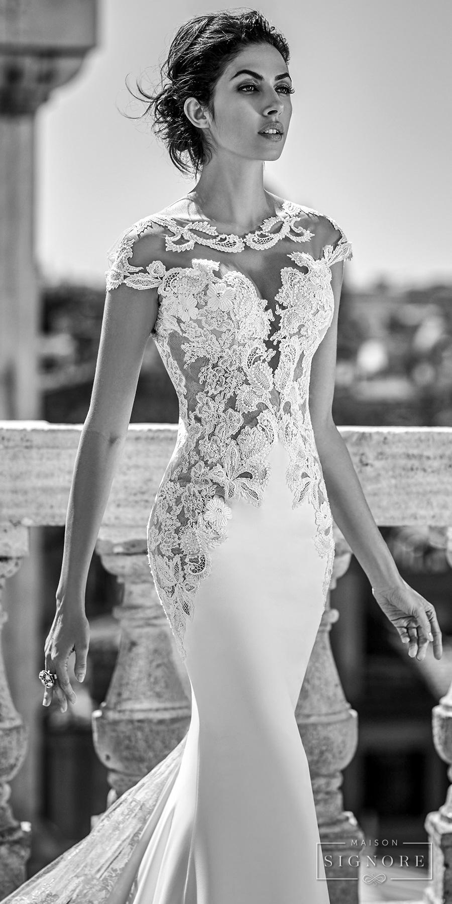 maison signore 2017 bridal cap sleeves round split plunging neckline heavily embellished bodice sexy sheath wedding dress chapel train (rahima) zv