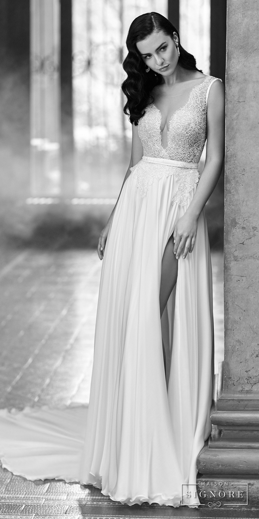maison signore 2017 bridal sleeveless deep plunging v neck heavily embellished bodice sexy romantic soft a  line wedding dress open scoop back chapel train (elida) mv