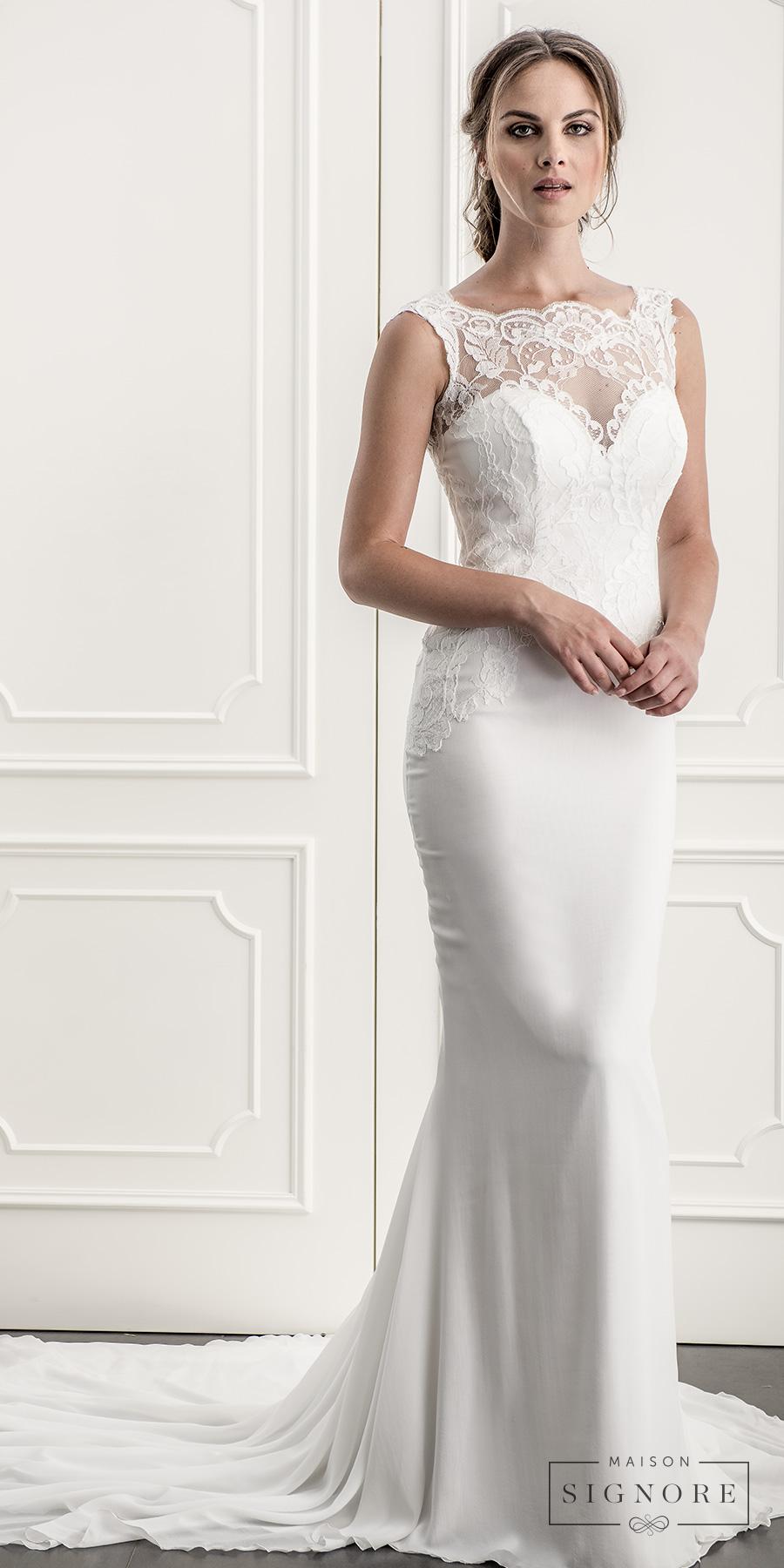 maison signore 2017 bridal sleeveless illusion bateau sweetheart neckline heavily embellished bodice elegant sheath wedding dress open v back chapel train (bailee) mv