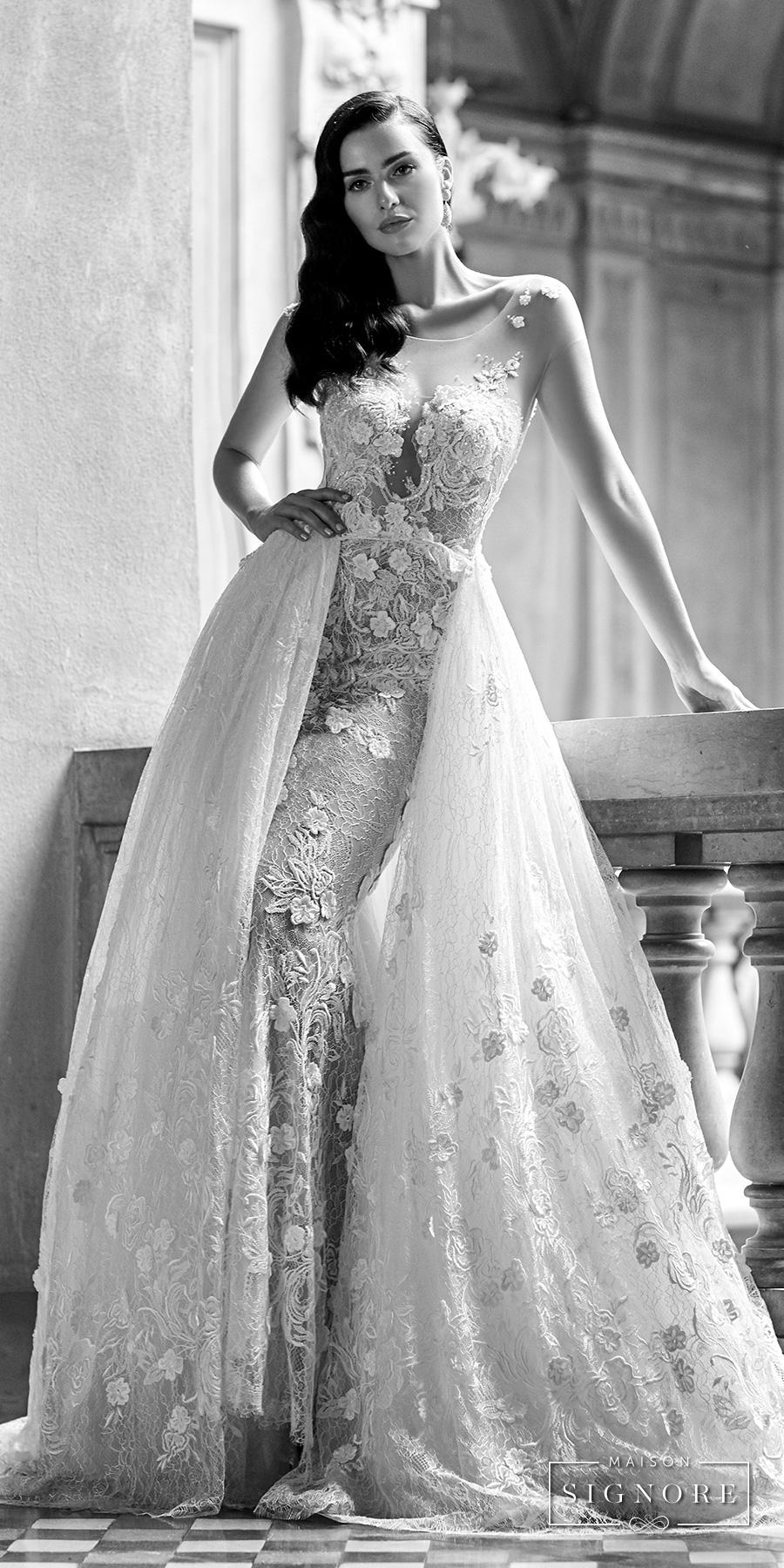 maison signore 2017 bridal sleeveless illusion jewel neck sweetheart neckline full embellishment elegant princess fit and flare wedding dress a  line overskirt open v back chapel train (eden) mv