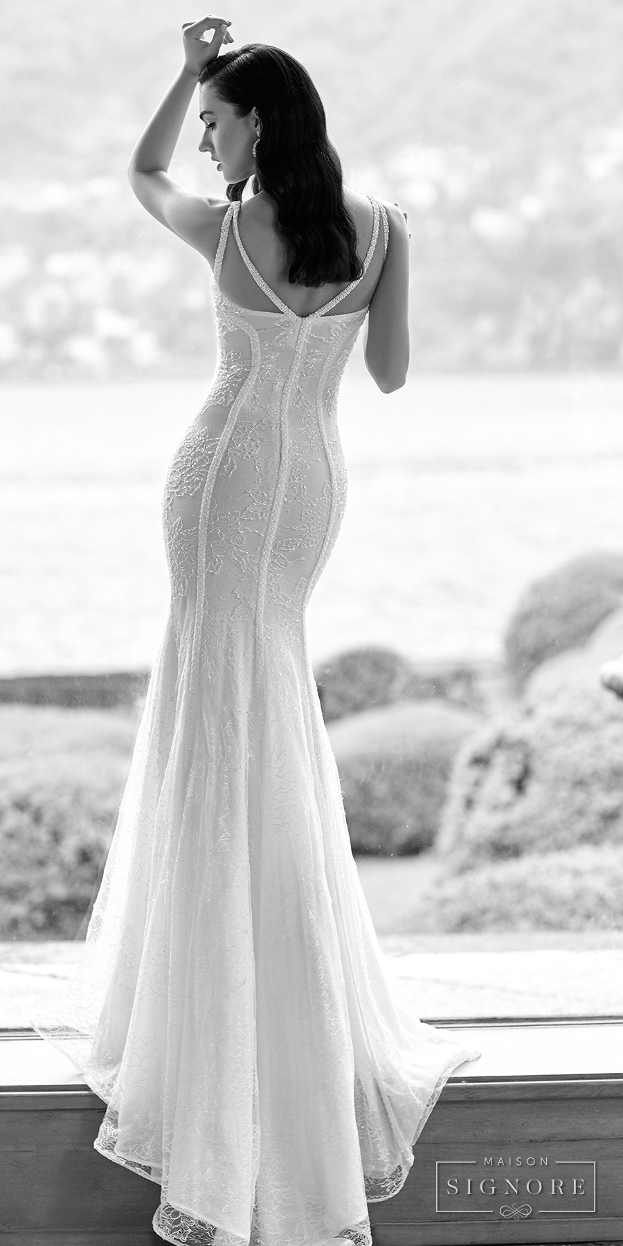 maison signore 2017 bridal sleeveless v neck full embellishment elegant glamorous fit and flare wedding dress sweep train (elin) bv