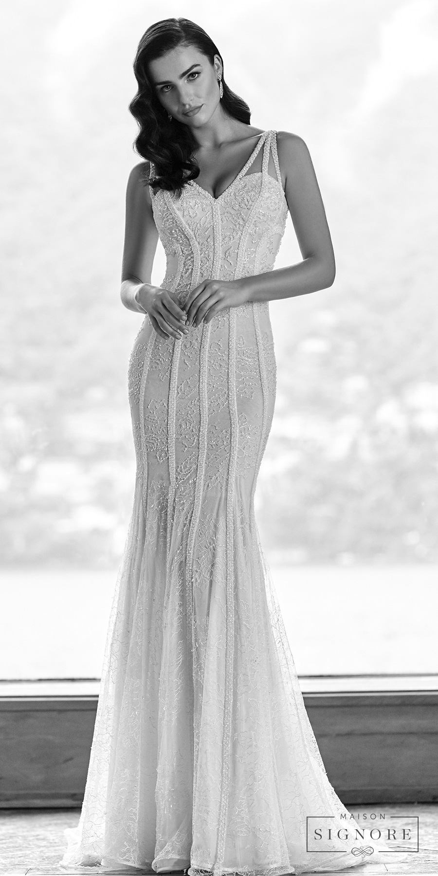 maison signore 2017 bridal sleeveless v neck full embellishment elegant glamorous fit and flare wedding dress sweep train (elin) mv