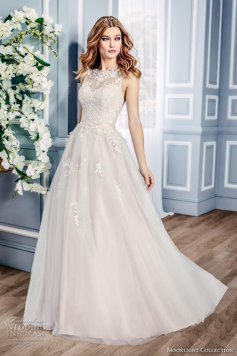 Moonlight collection fall 2016 wedding dresses wedding for Illusion sweetheart neckline wedding dress