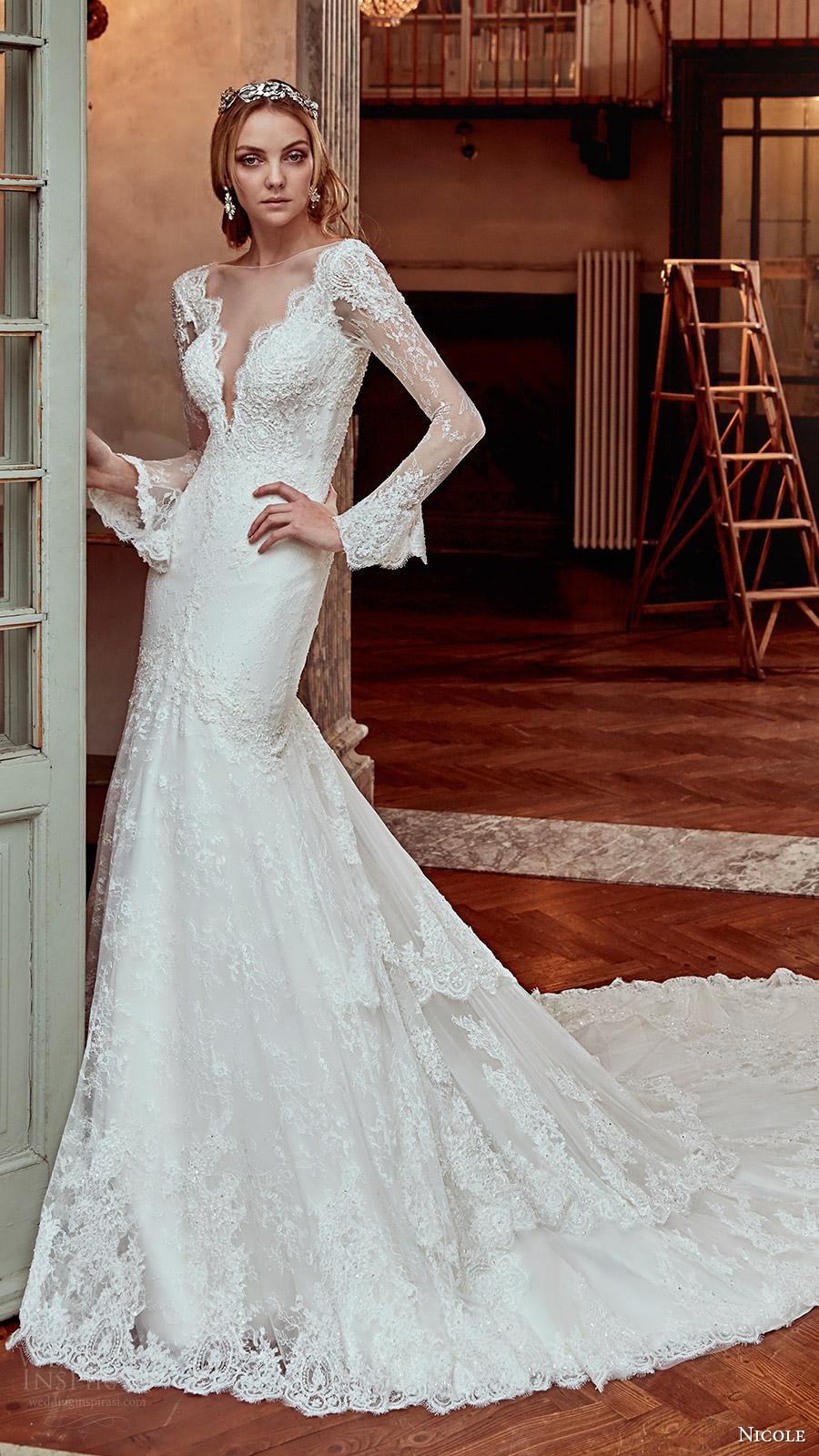Long Sleeve Mermaid Wedding Dresses 89 Stunning nicole spose bridal long
