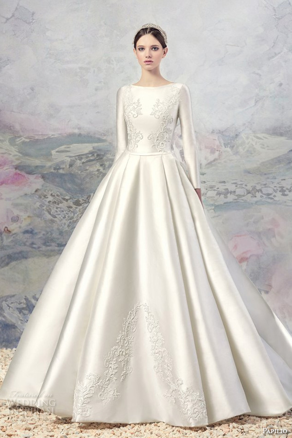 papilio 2016 bridal long sleeves bateau neckline heavily embellished bodice satin princess ball gown a  line wedding dress chapel train (1601) mv