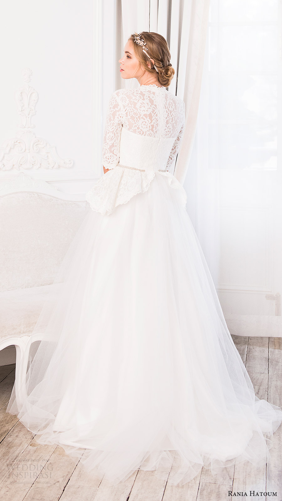 rania hatoum bridal spring 2017 3 quarter sleeve lace peplum bodice v neck ball gown wedding dress (serena) bv train