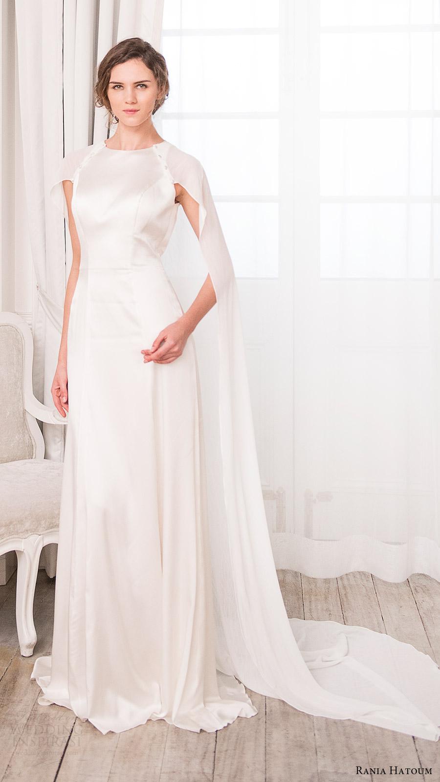 rania hatoum bridal spring 2017 cape sleeves jewel neck aline wedding dress (colette) mv