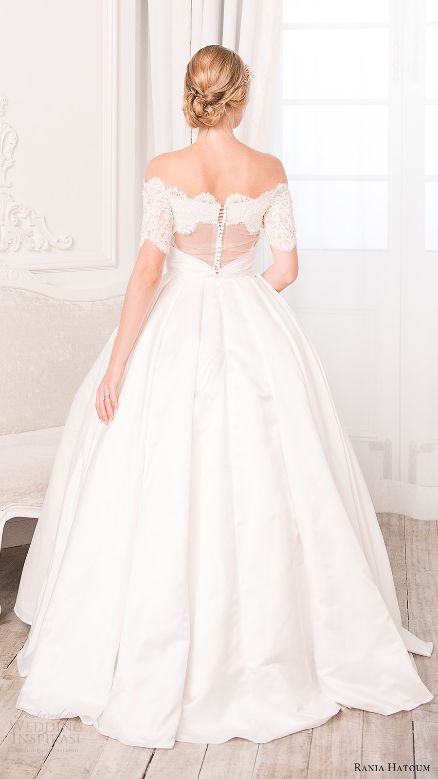 rania hatoum bridal spring 2017 half sleeves off shoulder ball gown wedding dress (inaa) bv