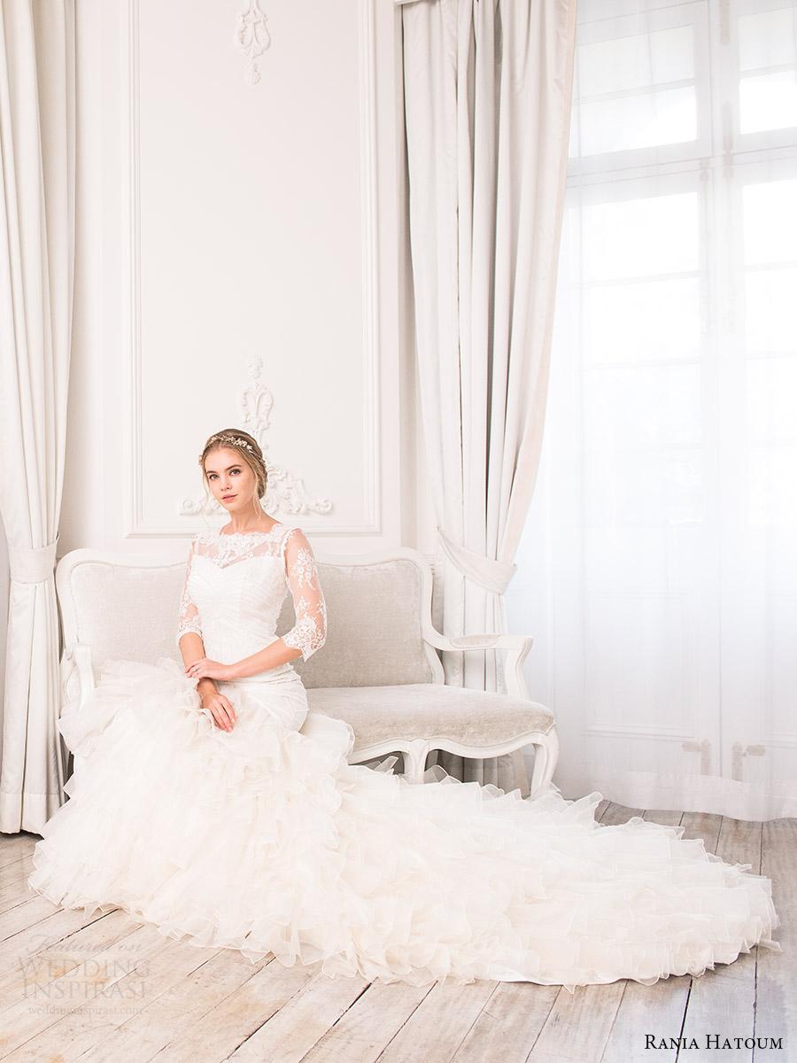 rania hatoum bridal spring 2017 illusion 3 quarter sleeves bateau neckline mermaid wedding dress (carrie) fv ruffle skirt train