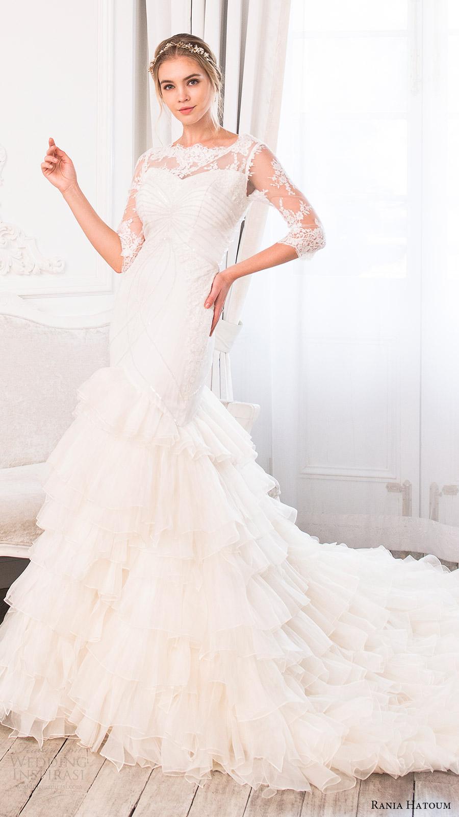 rania hatoum bridal spring 2017 illusion 3 quarter sleeves bateau neckline mermaid wedding dress (carrie) mv ruffle skirt train