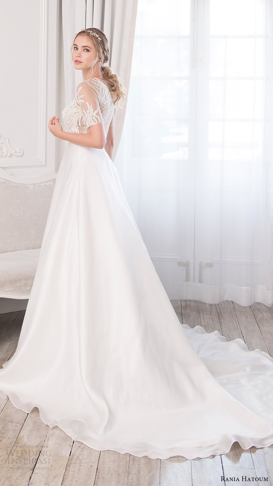 rania hatoum bridal spring 2017 illusion short sleeves jewel neck sheer bodice ball gown wedding dress (catcher) bv train