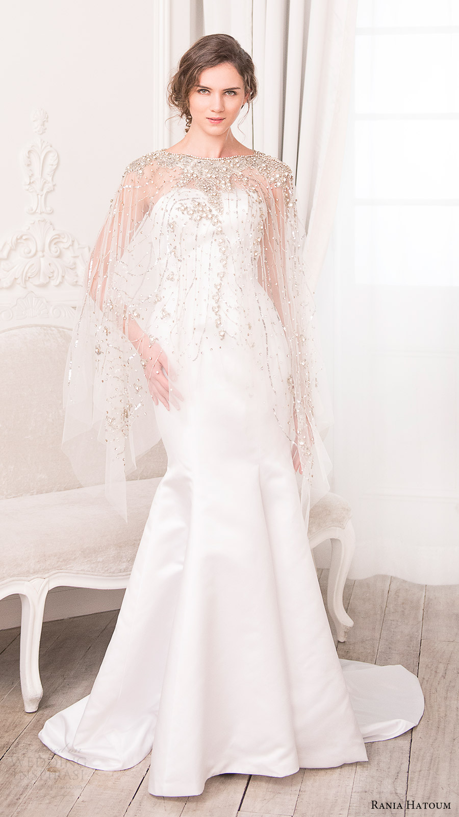 rania hatoum bridal spring 2017 sheer cape beaded bateau neck mermaid wedding dress (dakota) mv