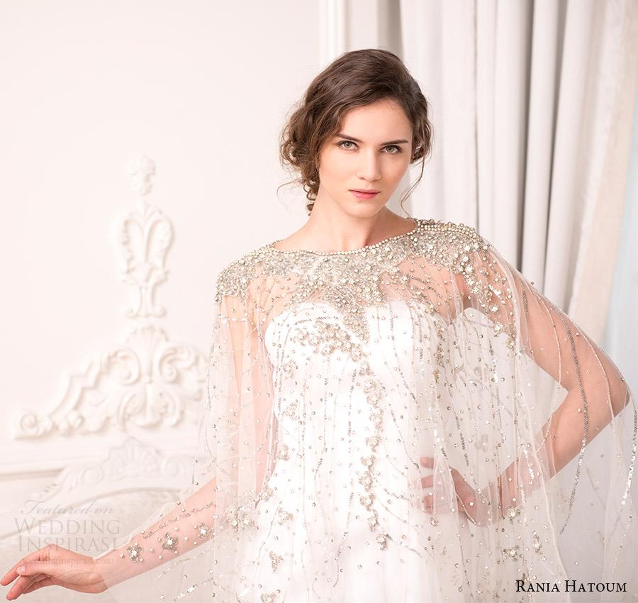 rania hatoum bridal spring 2017 sheer cape beaded bateau neck mermaid wedding dress (dakota) zv
