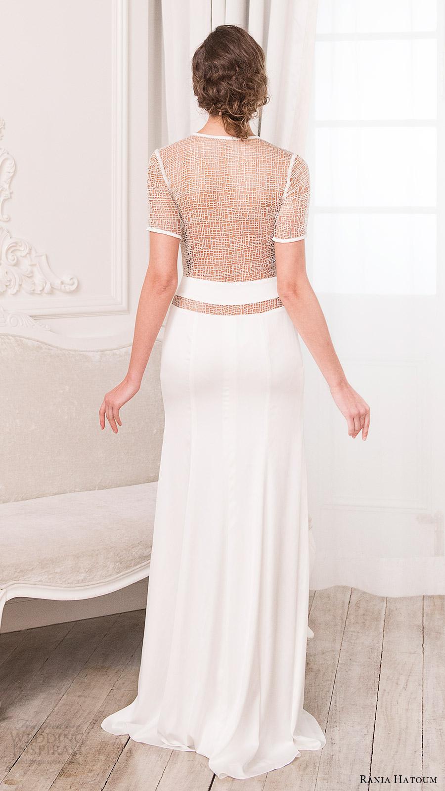 rania hatoum bridal spring 2017 short sleeves crew neck sheath wedding dress (mandy) bv