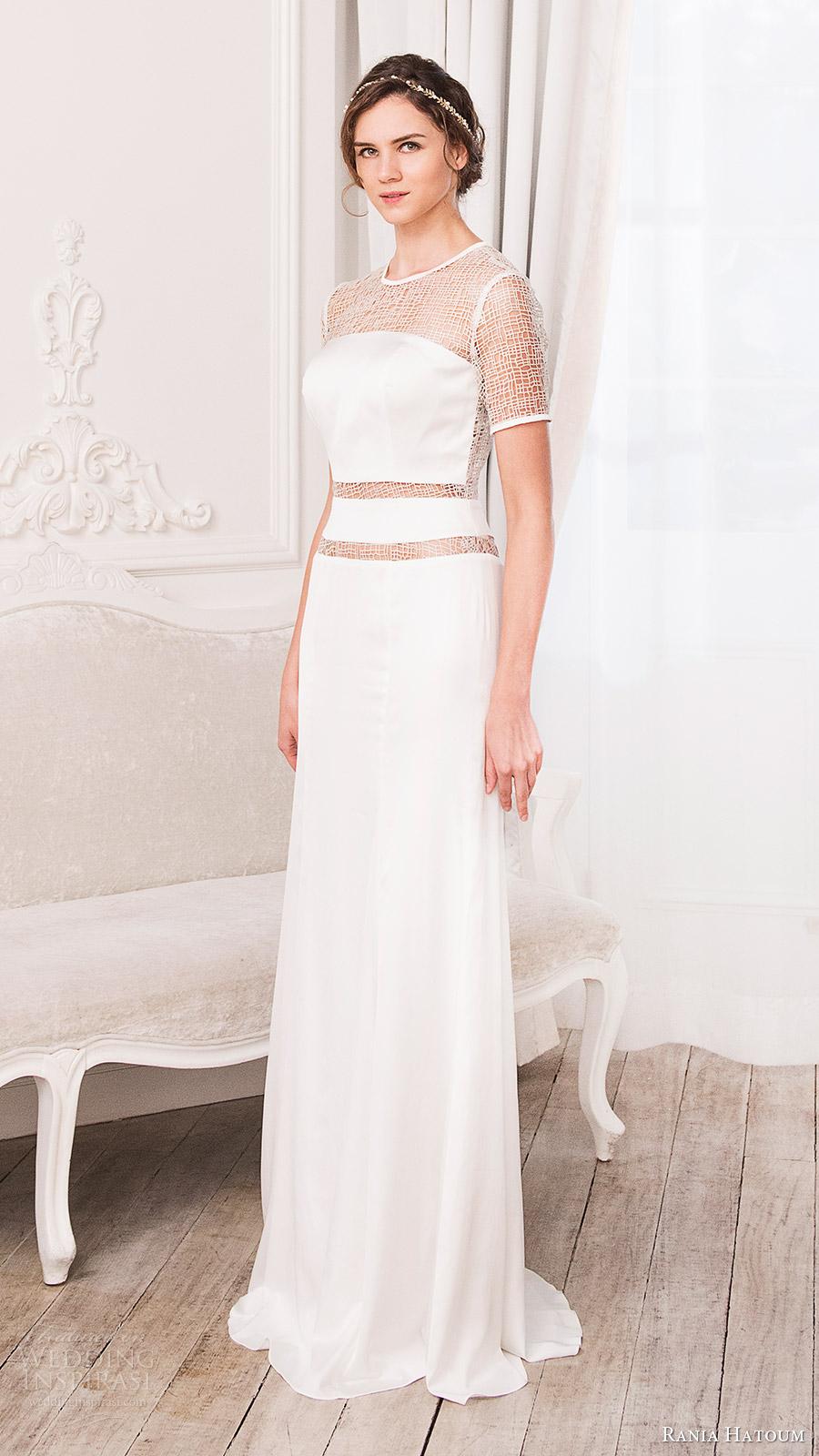 rania hatoum bridal spring 2017 short sleeves crew neck sheath wedding dress (mandy) mv