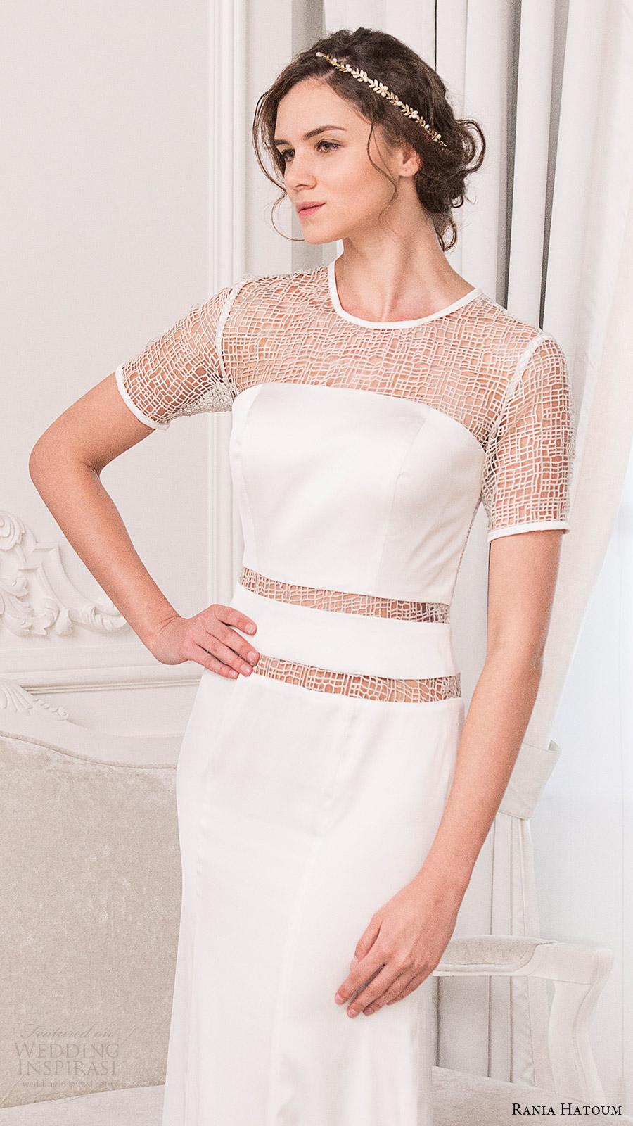 rania hatoum bridal spring 2017 short sleeves crew neck sheath wedding dress (mandy) zv