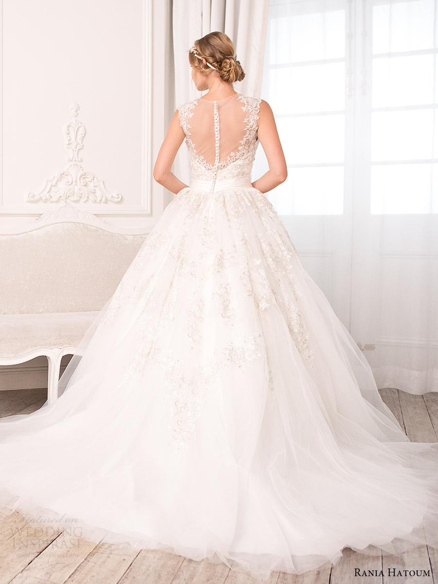 rania hatoum bridal spring 2017 sleeveless illusion jewel neck ball gown wedding dress (hazel) bv illusion back train