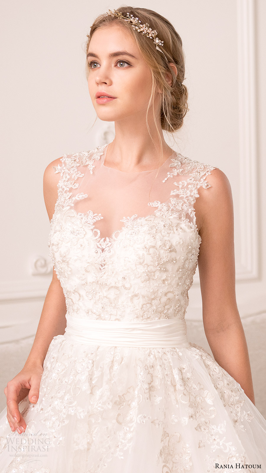 rania hatoum bridal spring 2017 sleeveless illusion jewel neck ball gown wedding dress (hazel) zfv beaded bodice