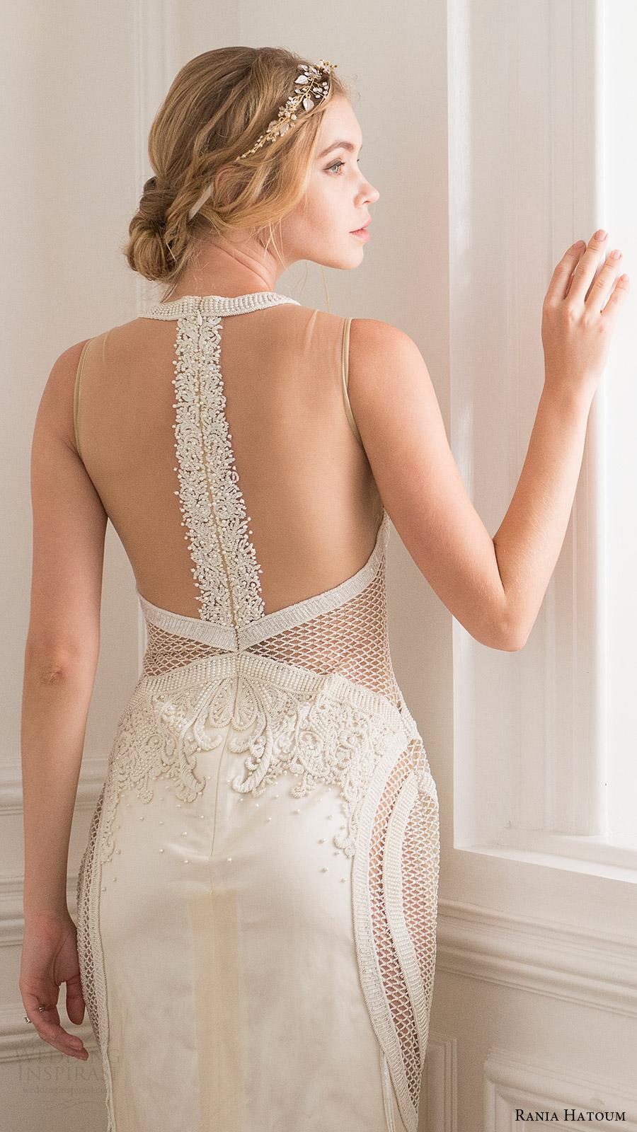 rania hatoum bridal spring 2017 sleeveless jewel neck sheath wedding dress (henna) bv illusion back