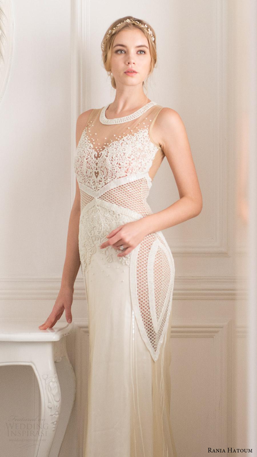 rania hatoum bridal spring 2017 sleeveless jewel neck sheath wedding dress (henna) mv