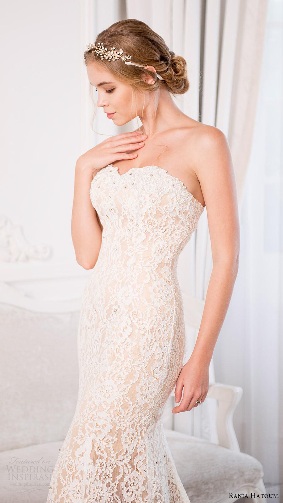rania hatoum bridal spring 2017 strapless sweetheart sheath lace wedding dress (eiffel) zfv train