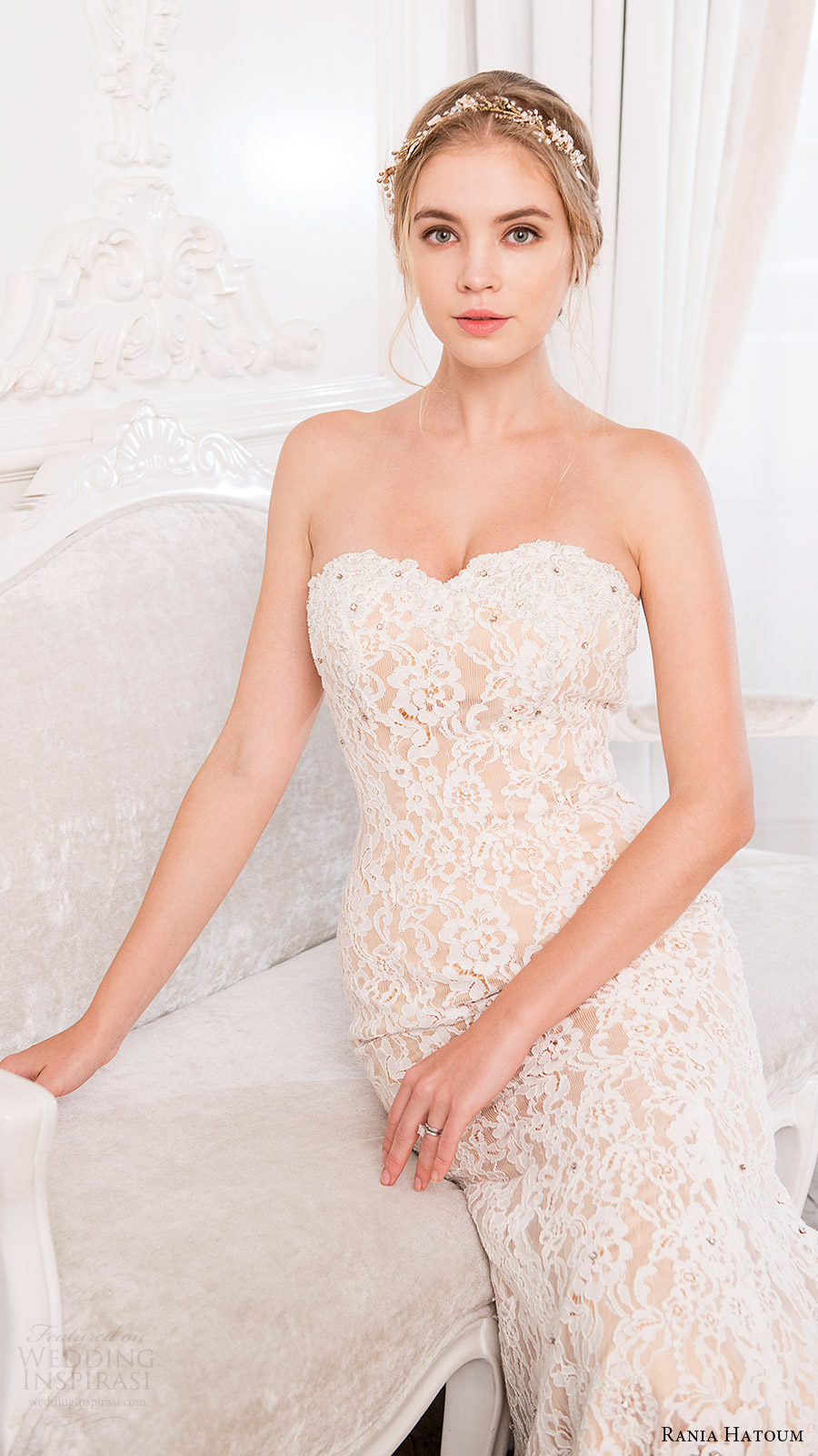 rania hatoum bridal spring 2017 strapless sweetheart sheath lace wedding dress (eiffel) zfv
