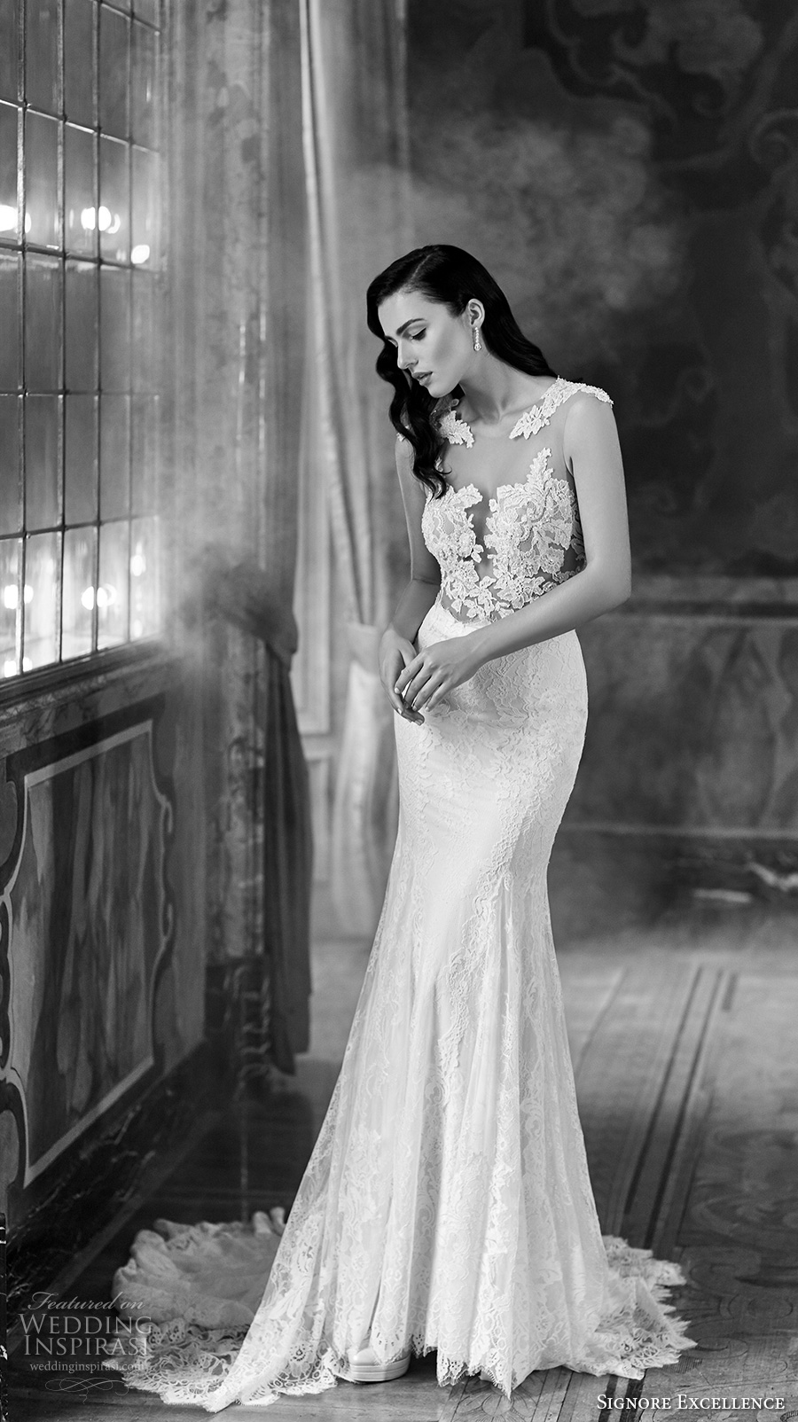 signore excellence 2017 bridal illusion scoop deep plunging heavily embellished bodice sexy gorgeous beautiful lace trumpet wedding dress lace back chapel train (erica) mv