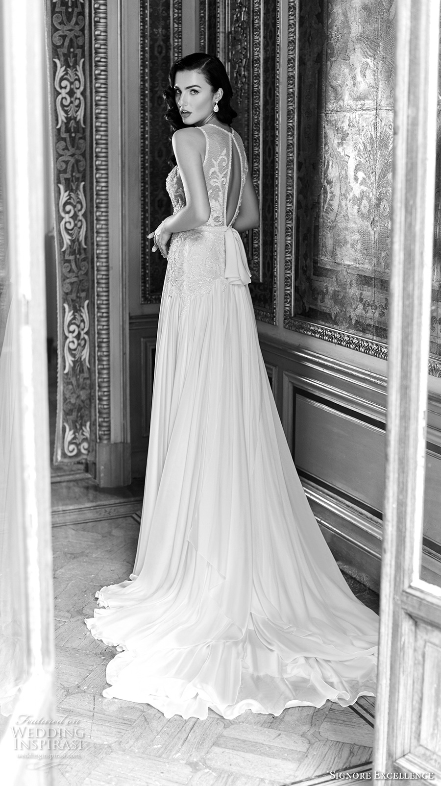 signore excellence 2017 bridal round split neckline heavily embellished bodice beautiful elegant sexy modified a  line wedding dress keyhole back chapel train (elanor) bv mv