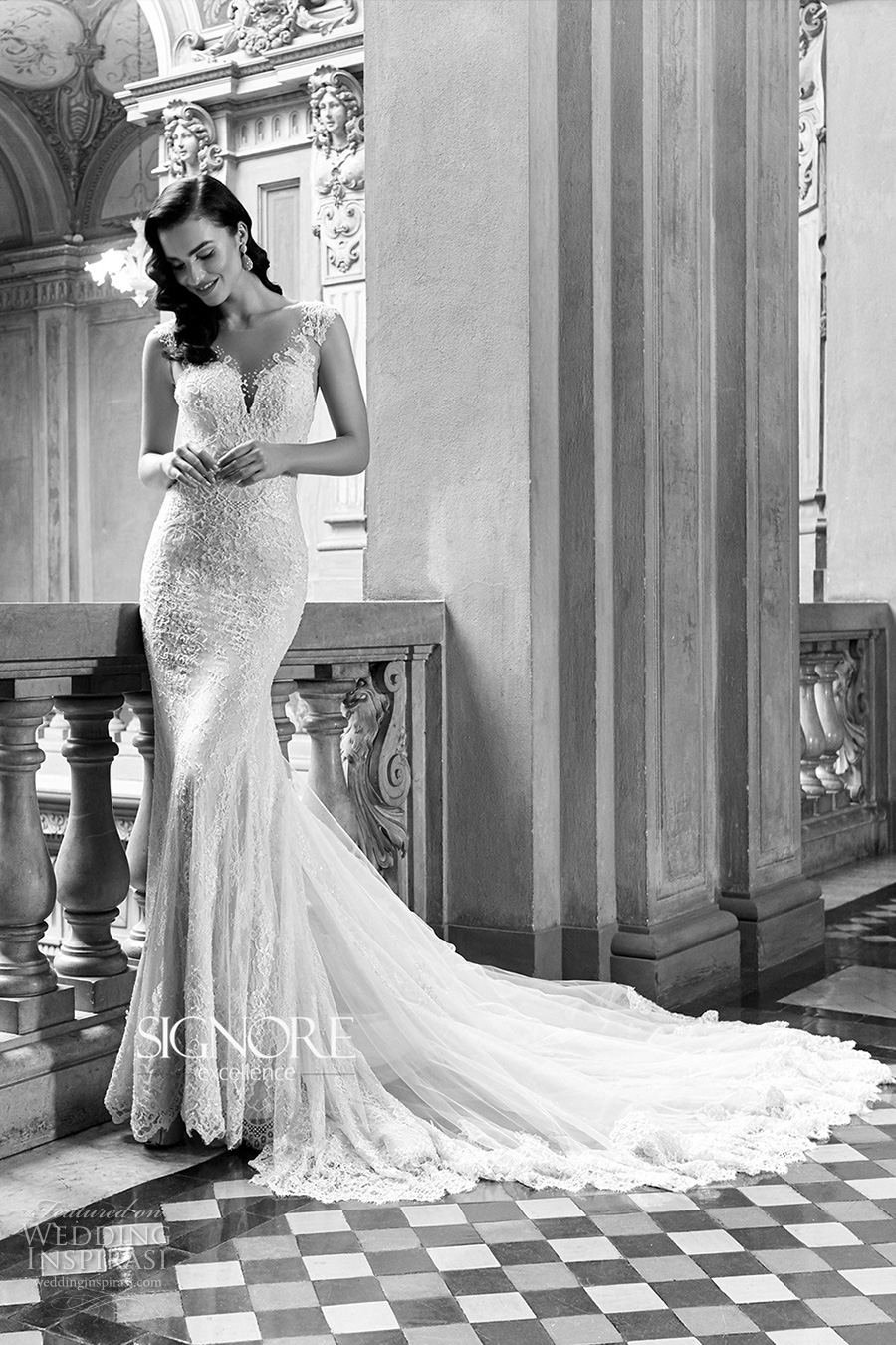 signore excellence 2017 bridal sheer thick strap sweet heart plunging neckline fully embellished elegant sexy sheath wedding dress lace back chapel train (era) mv