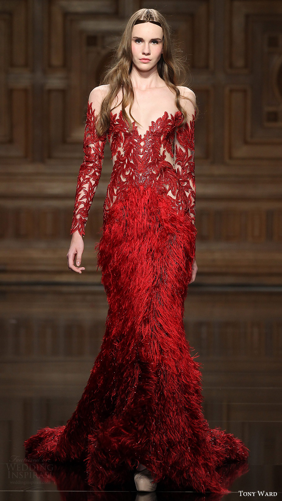Tony Ward Couture Fall 2016 Long Sleeves Illusion Off Shoulder Beaded Feather Sheath Dress 27