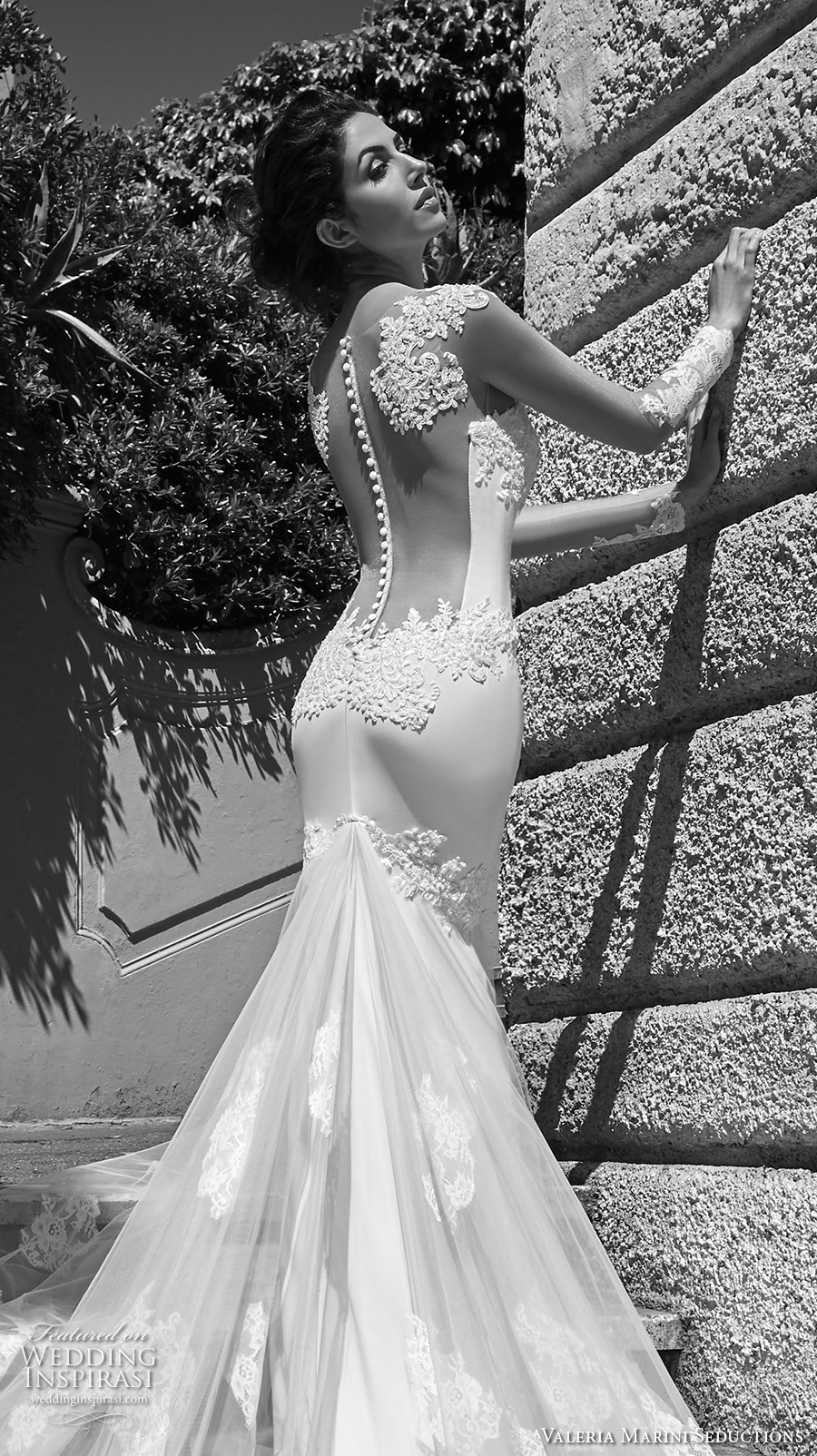 valeria marini seductions 2017 bridal cap sleeves heavily embellished bodice beautiful sexy sheath wedding dress low back panel monarch train (untitled 10) zbv