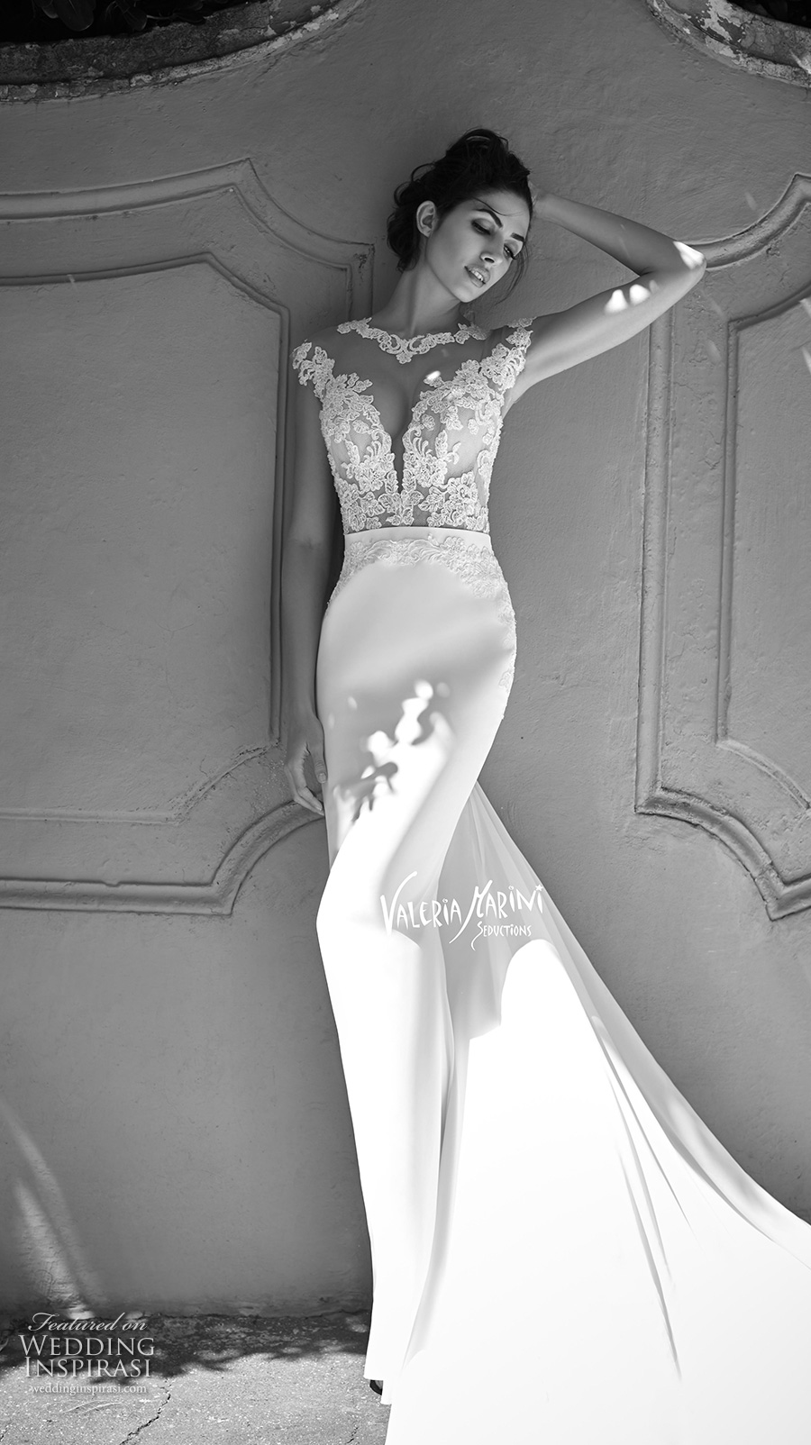 valeria marini seductions 2017 bridal cap sleeves round split plunging neckline heavily embellished bodice sexy sheath wedding dress chapel train (untitled 14) mv