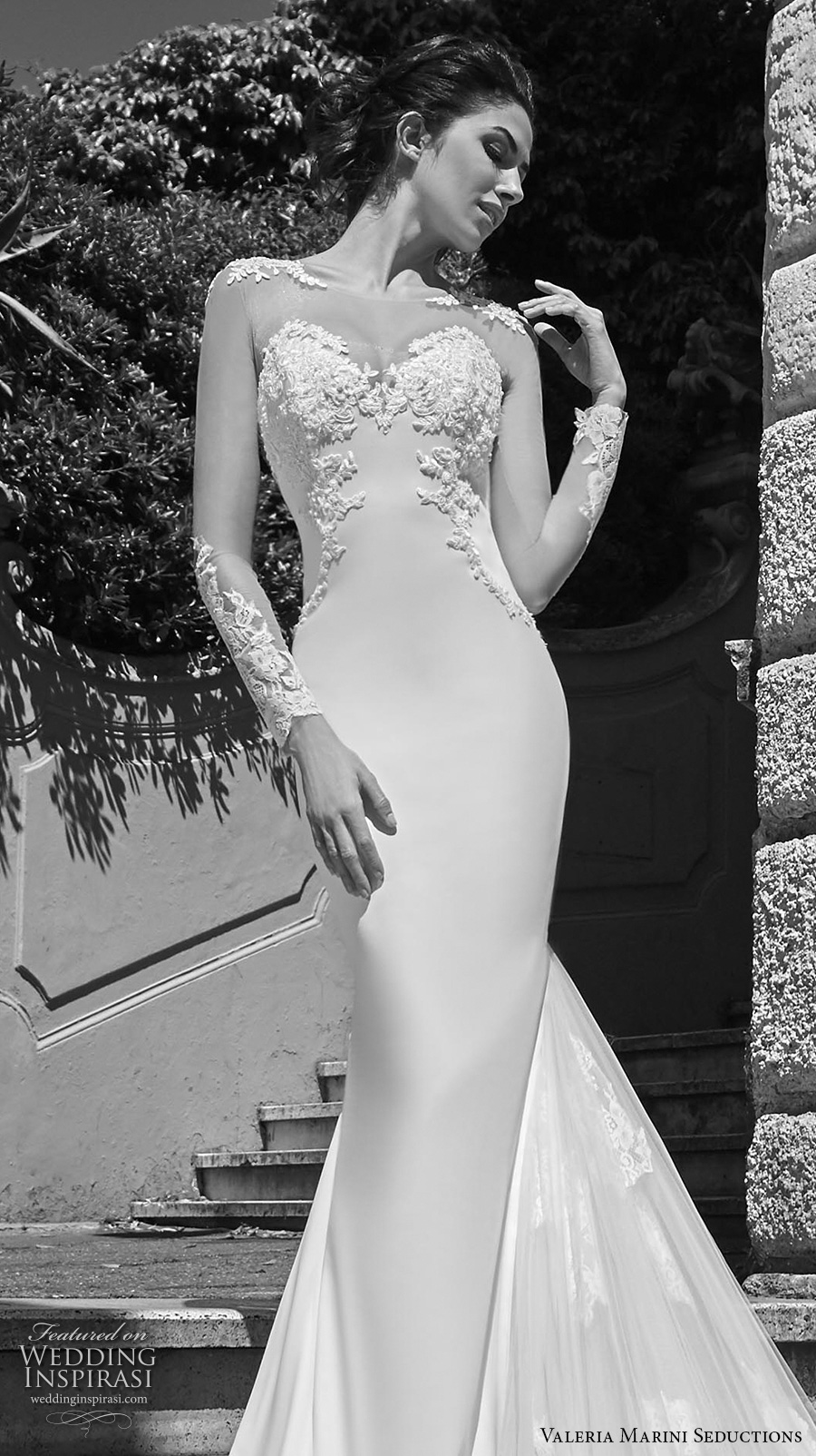 valeria marini seductions 2017 bridal illusion long sleeves sheer bateau neck sweetheart neckline heavily embellished bodice sexy elegant sheath wedding dress royal train (Immagine) zv