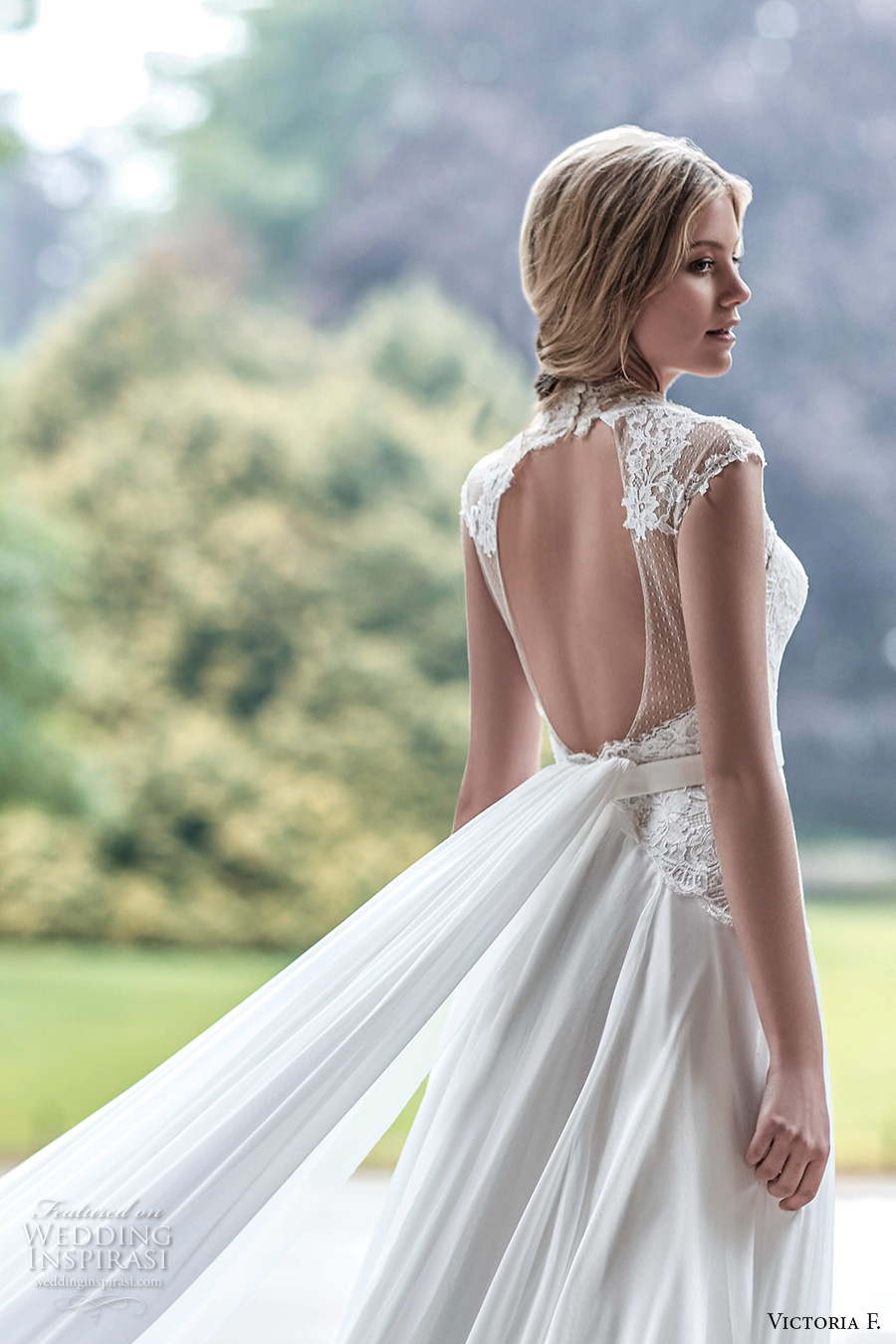 victoria f 2017 bridal cap sleeves high neck a  line wedding dress keyhole back panel train (untitled 09) bv